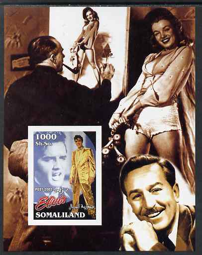Somaliland 2002 Elvis Presley #1 imperf m/sheet (with Walt Disney & Marilyn in background) unmounted mint