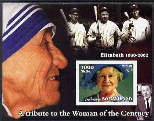 Somaliland 2002 A Tribute to the Woman of the Century #02 - The Queen Mother imperf m/sheet also showing Mother Teresa, Walt Disney & Babe Ruth, unmounted mint