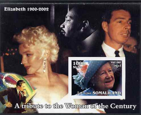 Somaliland 2002 A Tribute to the Woman of the Century #04 - The Queen Mother imperf m/sheet also showing Martin Luther King, Walt Disney, Marilyn & Joe Dimaggio, unmounted mint