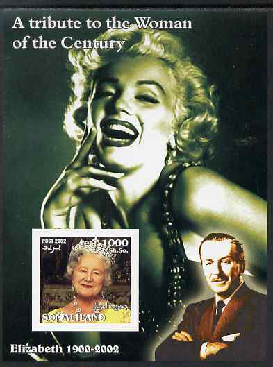 Somaliland 2002 A Tribute to the Woman of the Century #09 - The Queen Mother imperf m/sheet also showing Walt Disney & Marilyn Monroe, unmounted mint. Note this item is privately produced and is offered purely on its thematic appeal