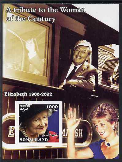 Somaliland 2002 A Tribute to the Woman of the Century #10 - The Queen Mother imperf m/sheet also showing Walt Disney (on Train) & Diana, unmounted mint. Note this item is privately produced and is offered purely on its thematic appeal