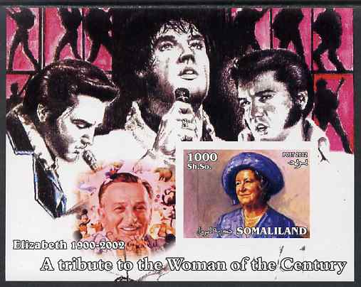 Somaliland 2002 A Tribute to the Woman of the Century #12 - The Queen Mother imperf m/sheet also showing Walt Disney & Elvis, unmounted mint. Note this item is privately produced and is offered purely on its thematic appeal