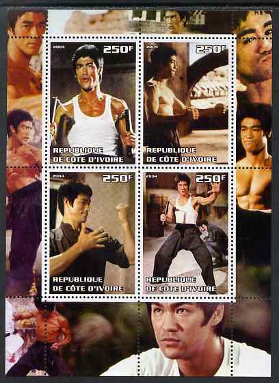 Ivory Coast 2004 Bruce Lee perf sheetlet containing 4 values unmounted mint. Note this item is privately produced and is offered purely on its thematic appeal