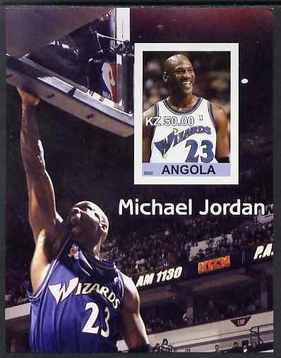 Angola 2002 Michael Jordan #1 imperf souvenir sheet unmounted mint