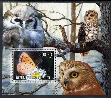 Djibouti 2007 Butterflies & Owls #4 perf s/sheet unmounted mint