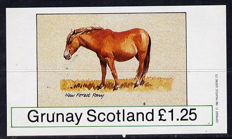 Grunay 1982 Ponies (New Forest Pony) imperf souvenir sheet (�1.25 value) unmounted mint
