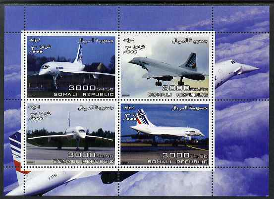 Somalia 2004 Concorde perf sheetlet containing 4 values unmounted mint. Note this item is privately produced and is offered purely on its thematic appeal