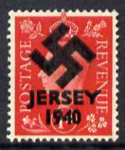Jersey 1940 Swastika opt on Great Britain KG6 1d scarlet - a copy of the overprint on a genuine stamp with forgery handstamped on the back, unmounted mint in presentation folder.  Note this value was not overprinted by the Germans but is included here for interest