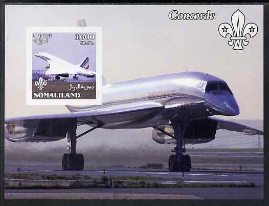 Somaliland 2002 Concorde imperf m/sheet with Scout Logo unmounted mint