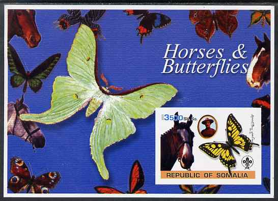 Somalia 2003 Horses & Butterflies (also showing Baden Powell and Scout & Guide Logos) imperf s/sheet unmounted mint