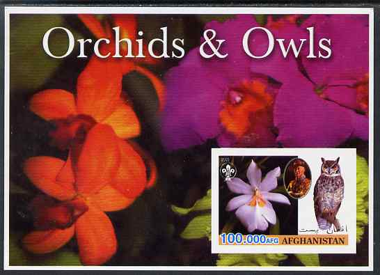 Afghanistan 2003 Orchids & Owls (with baden Powell) imperf souvenir sheet unmounted mint