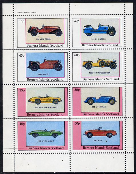 Bernera 1982 Sports Cars (1934 Alfa Romeo, Morgan, MG-12, etc) perf  set of 8 values (15p to 60p) unmounted mint