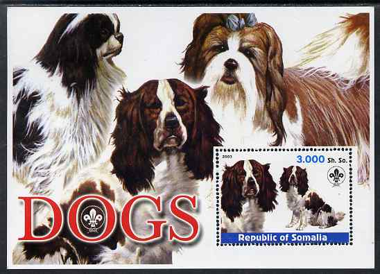 Somalia 2003 Dogs perf m/sheet with Scout Logo unmounted mint