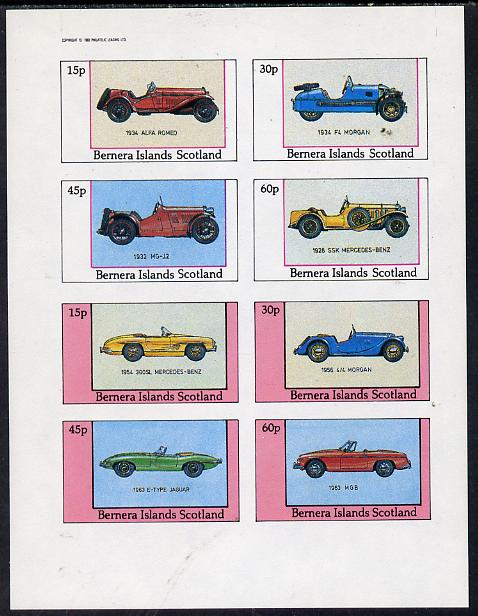 Bernera 1982 Sports Cars (1934 Alfa Romeo, Morgan, MG-12, etc) imperf  set of 8 values (15p to 60p) unmounted mint