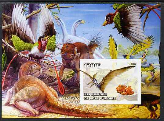 Ivory Coast 2004 Dinosaurs #1 imperf m/sheet unmounted mint