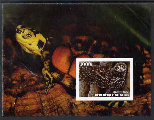 Benin 2004 Owls & Tortoises imperf s/sheet #1 unmounted mint. Note this item is privately produced and is offered purely on its thematic appeal