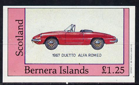 Bernera 1982 Sports Cars (1967 Alfa Romeo) imperf souvenir sheet (�1.25 value) unmounted mint
