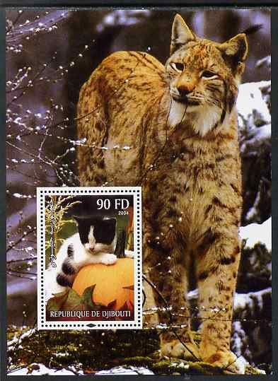 Djibouti 2004 Cats #2 (Domestic & Big cats) perf m/sheet unmounted mint