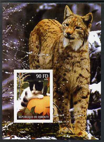 Djibouti 2004 Cats #2 (Domestic & Big cats) imperf m/sheet unmounted mint. Note this item is privately produced and is offered purely on its thematic appeal