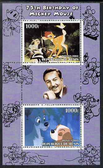 Benin 2004 75th Birthday of Mickey Mouse - Lady & the Tramp perf sheetlet containing 2 values plus label, unmounted mint