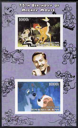 Benin 2004 75th Birthday of Mickey Mouse - Lady & the Tramp imperf sheetlet containing 2 values plus label, unmounted mint