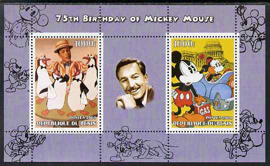 Benin 2004 75th Birthday of Mickey Mouse - Penguins from Mary Poppins & Mickey in Oil Crisis perf sheetlet containing 2 values plus label, unmounted mint