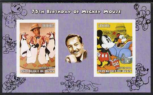 Benin 2004 75th Birthday of Mickey Mouse - Penguins from Mary Poppins & Mickey in Oil Crisis imperf sheetlet containing 2 values plus label, unmounted mint