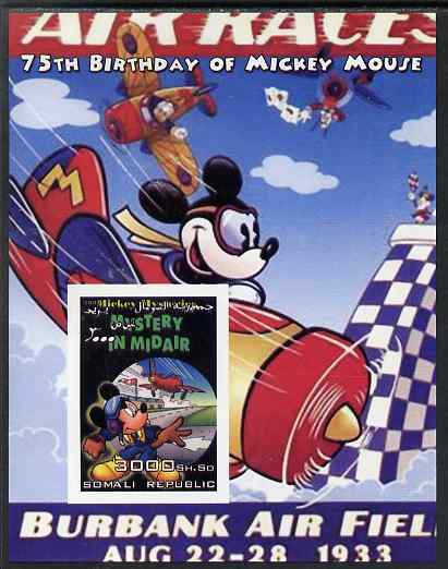Somalia 2004 75th Birthday of Mickey Mouse #01 - Air Race imperf m/sheet unmounted mint