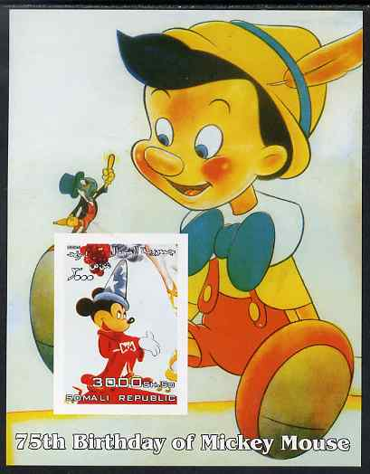 Somalia 2004 75th Birthday of Mickey Mouse #14 - Pinocchio imperf m/sheet unmounted mint