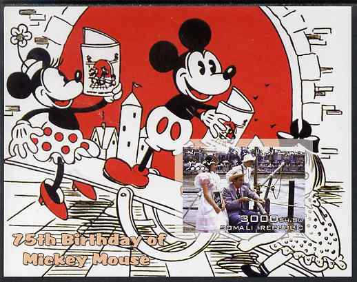 Somalia 2003 75th Birthday of Mickey Mouse #8 - Mickey & Minnie Mouse on See-saw imperf s/sheet unmounted mint