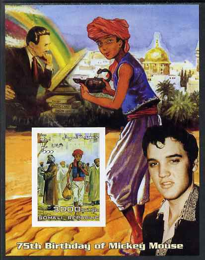 Somalia 2003 75th Birthday of Mickey Mouse #9 - Aladdin with Elvis imperf s/sheet unmounted mint. Note this item is privately produced and is offered purely on its thematic appeal