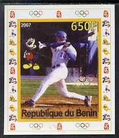 Benin 2007 Baseball #07 individual imperf deluxe sheet with Olympic Rings & Disney Character unmounted mint. Note this item is privately produced and is offered purely on its thematic appeal