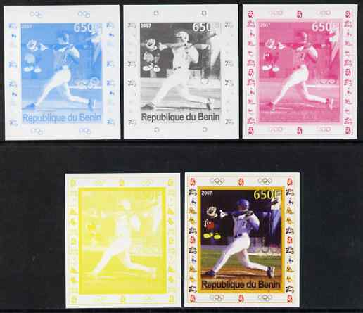 Benin 2007 Baseball #07 deluxe sheet with Olympic Rings & Disney Character, the set of 5 imperf progressive proofs comprising the 4 individual colours plus all 4-colour composite, unmounted mint