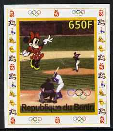 Benin 2007 Baseball #08 individual imperf deluxe sheet with Olympic Rings & Disney Character unmounted mint. Note this item is privately produced and is offered purely on its thematic appeal