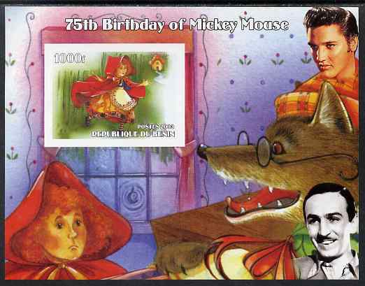 Benin 2003 75th Birthday of Mickey Mouse - Little Red Riding Hood #03 (also shows Elvis & Walt Disney) imperf m/sheet unmounted mint