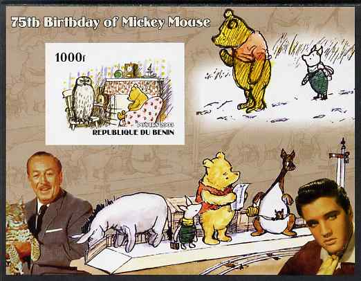 Benin 2003 75th Birthday of Mickey Mouse - Winnie the Pooh #1 (also shows Elvis & Walt Disney) imperf m/sheet unmounted mint