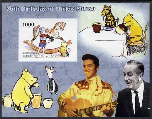 Benin 2003 75th Birthday of Mickey Mouse - Winnie the Pooh #2 (also shows Elvis & Walt Disney) imperf m/sheet unmounted mint