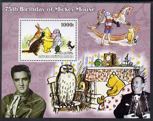 Benin 2003 75th Birthday of Mickey Mouse - Winnie the Pooh #3 (also shows Elvis & Walt Disney) perf m/sheet unmounted mint