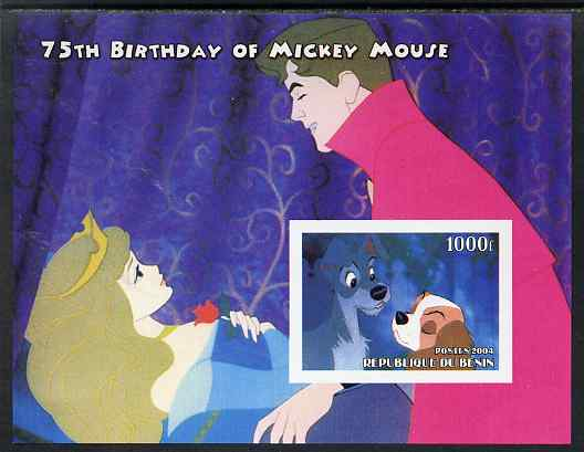Benin 2004 75th Birthday of Mickey Mouse - Lady & the Tramp imperf m/sheet unmounted mint