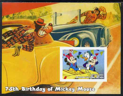 Benin 2004 75th Birthday of Mickey Mouse - Minnie in a Car imperf m/sheet unmounted mint