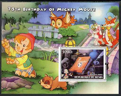 Benin 2004 75th Birthday of Mickey Mouse - Pinocchio perf m/sheet unmounted mint. Note this item is privately produced and is offered purely on its thematic appeal