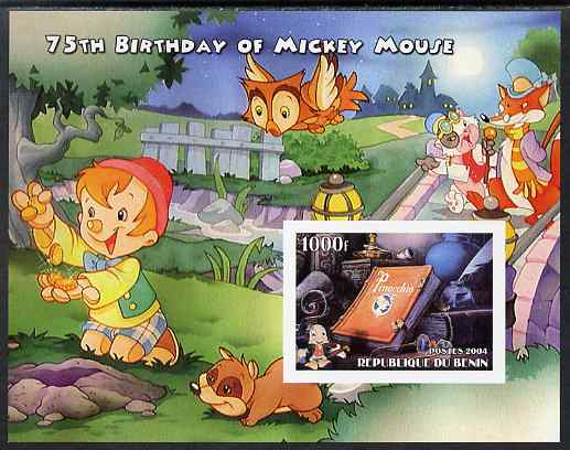Benin 2004 75th Birthday of Mickey Mouse - Pinocchio imperf m/sheet unmounted mint