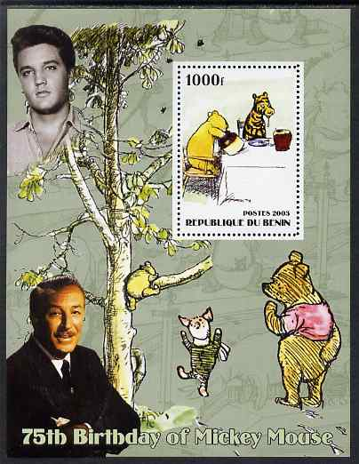 Benin 2003 75th Birthday of Mickey Mouse - Winnie the Pooh #4 (also shows Elvis & Walt Disney) perf m/sheet unmounted mint
