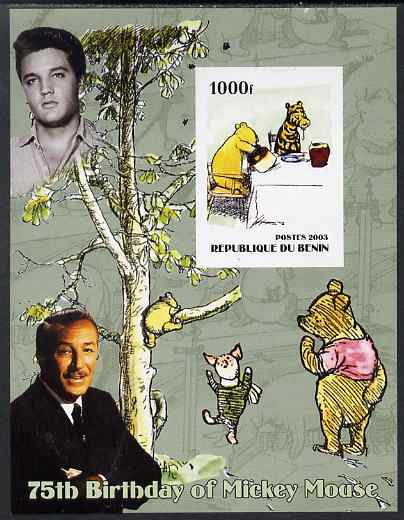 Benin 2003 75th Birthday of Mickey Mouse - Winnie the Pooh #4 (also shows Elvis & Walt Disney) imperf m/sheet unmounted mint. Note this item is privately produced and is ...