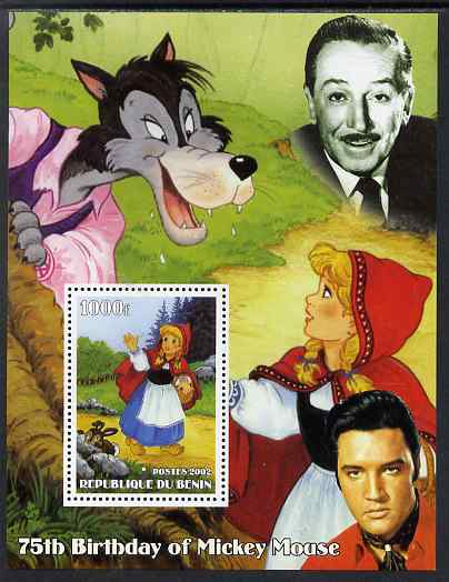 Benin 2002 75th Birthday of Mickey Mouse - Little Red Riding Hood #02 (also shows Elvis & Walt Disney) perf m/sheet unmounted mint