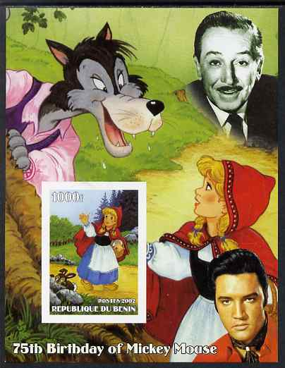 Benin 2002 75th Birthday of Mickey Mouse - Little Red Riding Hood #02 (also shows Elvis & Walt Disney) imperf m/sheet unmounted mint