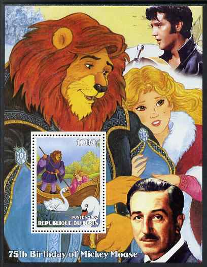 Benin 2002 75th Birthday of Mickey Mouse - Beauty & The Beast #1 (also shows Elvis & Walt Disney) perf m/sheet unmounted mint