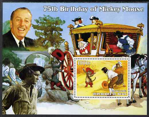 Benin 2003 75th Birthday of Mickey Mouse - Puss in Boots (also shows Elvis & Walt Disney) perf m/sheet unmounted mint