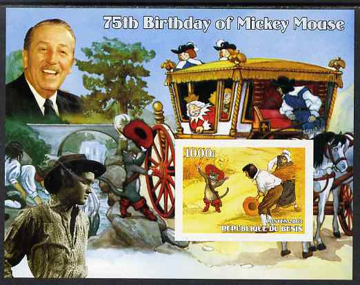 Benin 2003 75th Birthday of Mickey Mouse - Puss in Boots (also shows Elvis & Walt Disney) imperf m/sheet unmounted mint