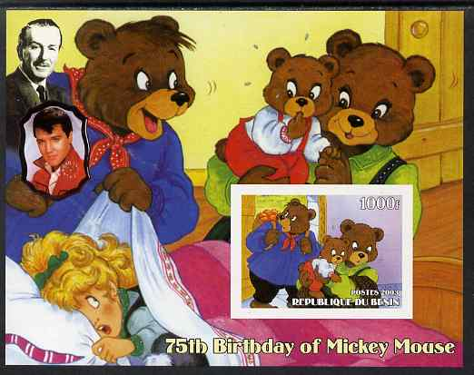 Benin 2003 75th Birthday of Mickey Mouse - Goldilocks & the Three Bears (also shows Elvis & Walt Disney) imperf m/sheet unmounted mint